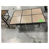 Ceramic Tile Patio Table, Tan w/Brown Metal