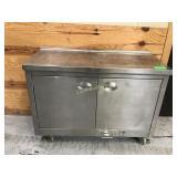 Stainless steel two door cabinet on wheels has