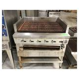 Montague 36 inch wide charge grill on stand
