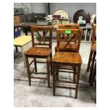 Three wood barstools scrapes and scratches
