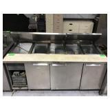 74 inch three door refrigerated pizza prep unit