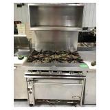 Jade six burner oven on wheels with overshelf