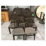 16 matching wood and cloth seat chairs.   S