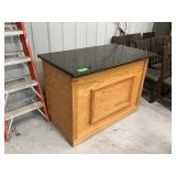 """30"""" x 52"""" oak counter with stone top"""