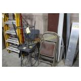 Lot:  3 shop stools and 3 folding chairs