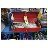 Lot:  Tool box and set of open-end wrenches
