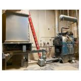 Burnham 3-Phase Generator Boiler With Decton Iron Works Saw Dust Feeder Bin