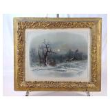 Antique Frame Winter Cabin Print