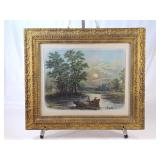 Antique Frame Fishing Print