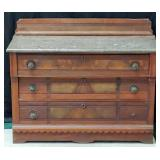 Antique Eastlake Marble Top Dresser