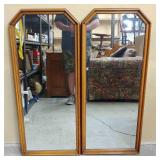 (2) Mid Century Wood Framed Wall Mirrors