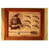 """Smith & Wesson tin framed sign 18 1/5""""  x 15"""""""