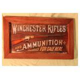 "Winchester rifle tin framed sign 18 1/2"" x 11"""