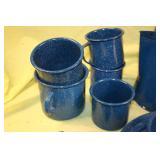 Blue speckled porcelain dishes camp set