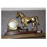 VINTAGE BRONZE HORSE MANTEL CLOCK