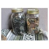 LOT OF TWO JARS OF VINTAGE BUTTONS
