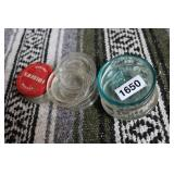 LOT OF GLASS CANNING LID JARS AND MISC