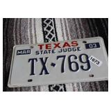 """TEXAS """"STATE JUDGE"""" LICENSE PLATE"""
