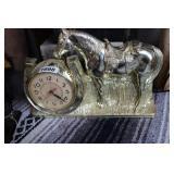 VINTAGE PLASTIC BRONZE HORSE MANTLE CLOCK