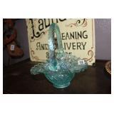 FENTON GLASS FLUTED EDGE DECORATIVE BASKET