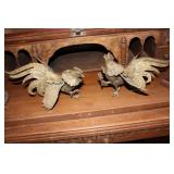 BRASS FIGHTING ROOSTERS