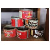 LOT OF VINTAGE AND ANTIQUE COFFEE TINS