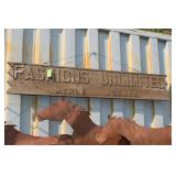 """VTG. WOODEN SIGN """"FASHIONS UNLIMITED"""""""