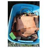 LOT OF MISC HORSE TACK AND SCRAP LEATHER