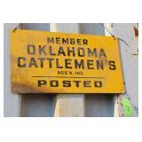OKLAHOMA CATTLEMANS ASSN METAL SIGN