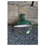 VINTAGE ENAMEL LIGHT WITH PROTECTIVE CAGE