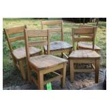 LOT OF FIVE VTG WOOD CHILDRENS CHAIRS