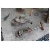ANTIQUE HAND GRINDER AND PIPE CUTTER