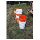 LARGE LOT OF 5 GAL FEED BUCKETS