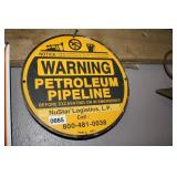 """WARNING METAL SIGN APPX 10"""" DIA"""