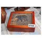 CARVED BEAR KEEPSAKE BOX