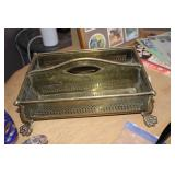 BRASS FOOTED SERVICE TRAY