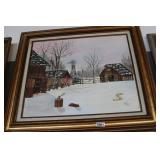 """PAINTING BY LAYCE GOODWIN 1982 """"WINTER ON THE FARM"""