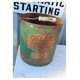 """VTG. """"QUACKER STATE"""" MOTOR OIL 5 GAL CAN"""