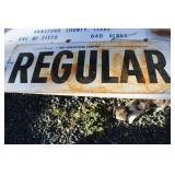 "VTG. ""REGULAR"" GAS METAL SIGN"