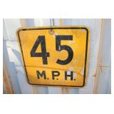 HEAVY METAL 45 MPH ROAD SIGN