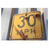 VTG. 30 MPH METAL ROAD SIGN
