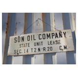 SUN OIL METAL OIL LEASE SIGN
