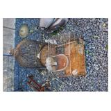 LOT OF TWO BIRD CAGES AND GALV HOG WATERER