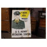 WWII DOUBLE SIDED ARMY RECRUITMENT SIGN