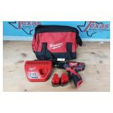 MILWAUKEE M12 DRILL WITH CHARGER AND TWO BATTERIES