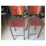 Bid x 2:  Tall Chairs/Stools Red