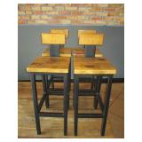 "Bid x 4: Wood Stools w/ Back Plate (37"")"