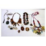 Carved Wood & Stone Jewelry Estate Find