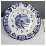 "10"" Wedgwood Loch Lomond Transfer ware Clock"