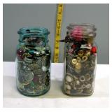 Vintage Jars full of Buttons set of 2